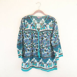 Calypso St. Barth Teal Blue Elephant Blouse